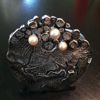 Vintage Sterling Silver and Pearl Designer Bracelet