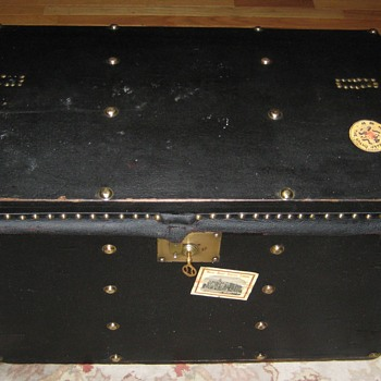 Antique European Made Patent Leather Trunk