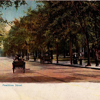 Early Postcard of Peachtree St in Atlanta - then and now...