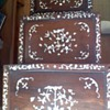 Set of 3 stack tables with TONS of Mother of Pearl Inlay