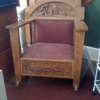 Vintage Mission Rocking Chair With Hand Carved Desert Scene - Oak