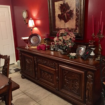 West Germany carved dining room suite.