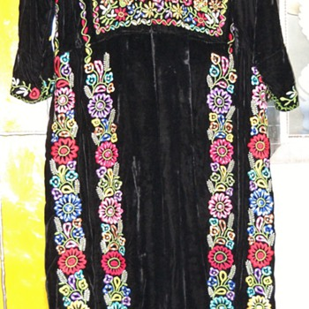 60's? Russian Velvet Embroidered long Dress - Womens Clothing