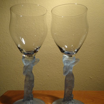 DECO NUDE LADY GOBLETS  - Art Deco