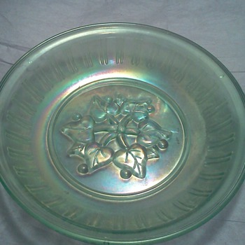 Vintage Ice Blue Carnival Glass Leaves & Berries Design Mystery Piece - Glassware