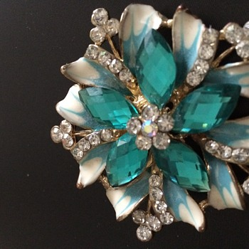 Turquoise and Diamente costume brooch - Costume Jewelry