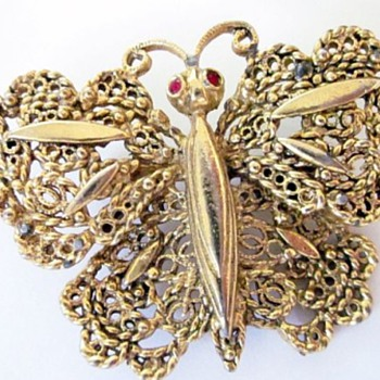 Butterfly Brooches, Gold & Silver  - Costume Jewelry