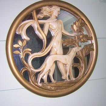 Art Deco Mirrored Wall Plaque - Art Deco