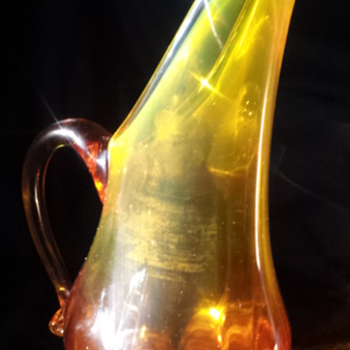 Amber/Green mini pitcher - Art Glass