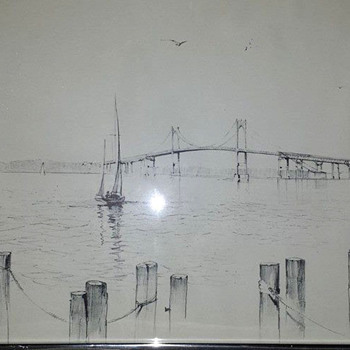 Richard Grosvenor Drawing of Newport Bridge - Visual Art