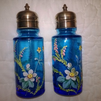 Blue Decorated Shakers - Art Glass