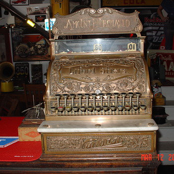A True Antique...National Cash Register...Model 8...With Top Sign...All Original 1800's - Coin Operated