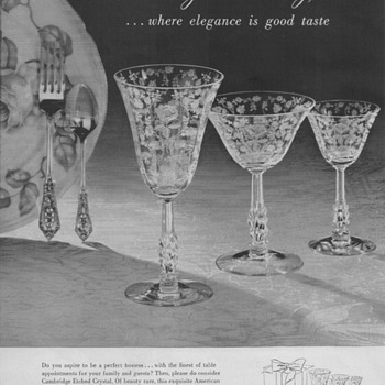 1950 Cambridge Glass Advertisements