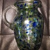 mystery Blown Glass vase blue green and textured heavily with clear handle