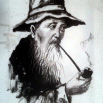 Asian Man  smoking pipe- painted on cloth - Asian
