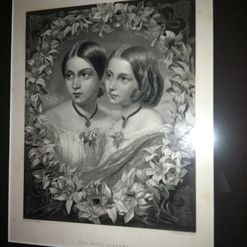 "Antique Steel Engraving ""The Royal Sisters"" c. 1870 [Proof / NOT a print] - Posters and Prints"