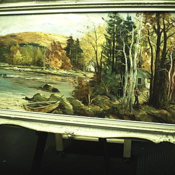 "Fernando Alzamora""Muskoka Lake 1964""Impressioniste Oil Painting"
