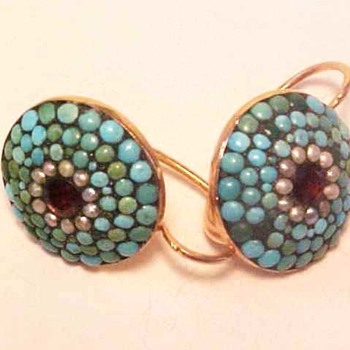 Antique Gold Turquoise and Garnet Earrings