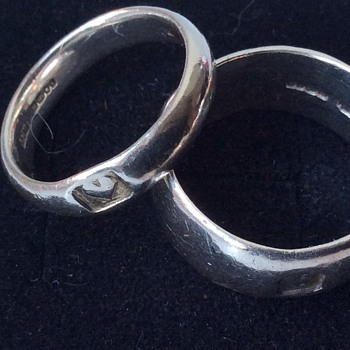 Pair of silver band rings