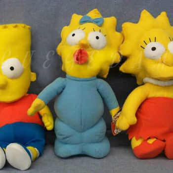 "18"" Simpson's plush dolls. Bart, Maggie & Lisa. With original packaging"