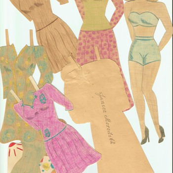 Handmade Paper dolls and clothes Dating to WWII  - Paper