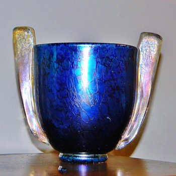 "Maria Kirschner Loetz Cobalt Gold Papillon ""Paddle-handled"" Vase  - Art Glass"