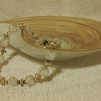 Murano Glass Bowl and Matching Necklace - Art Glass