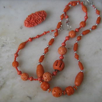 Orange celluloid 1930's necklaces & 1950's clip - Costume Jewelry