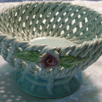 Woven Basket With Roses - China and Dinnerware
