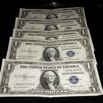 1935 Silver Certificate $1 star symbol 91013378 E - US Paper Money