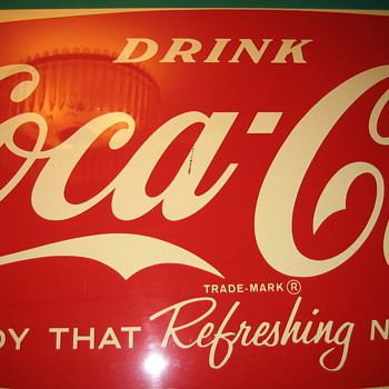 COCA COLA TIN SIGN  24 INCH WIDE 58 INCH LONG   4-62 - Coca-Cola
