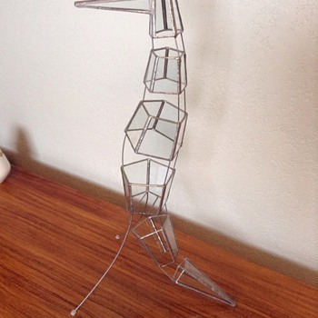 Mid century modern stained-glass bird sculpture