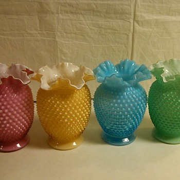 8 INCH TALL FENTON HOBNAIL OPALESCENT AND OVERLAY VASES