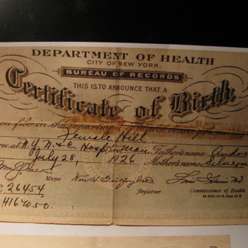 1926 Birth Certificate - Paper