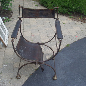 Wrought iron & leather folding directors chair