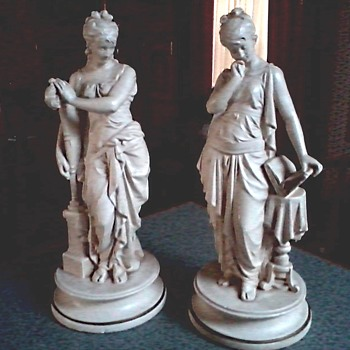 """Esco Products"" New York / 18 "" Chalkware Statues/""Muses""  Music and Poetry /Circa 20th Century"