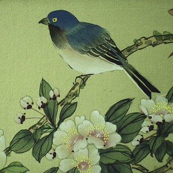 Asian Bird/Flowers, Watercolour on Silk,Mid Century.