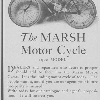 1902 Marsh Motor Bicycle Advertisement - Advertising