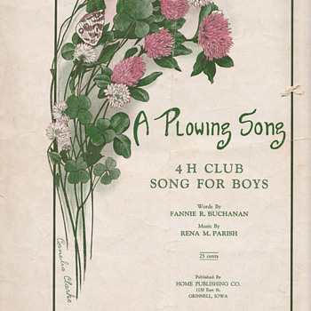 A Plowing Song 4H Club song for boys original sheet