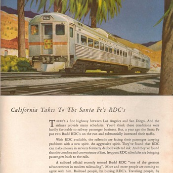 "1953 - Budd Co. RDC Traincars ""Sante Fe"" Advertisement"