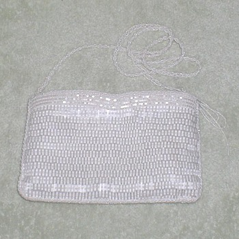 Vintage White Beaded Purse - Accessories
