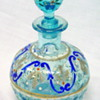 Bohemian Glass Enameled Decanter in Light Blue - Wonderful!