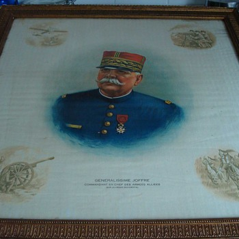 WWI Original Print of Gen. Joffre on Silk with Vignettes of War in Corners