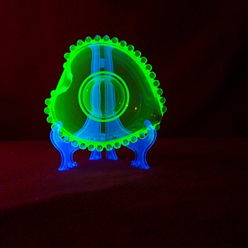 Candlewick ? Vaseline Uranium Glass Bowl - Art Glass