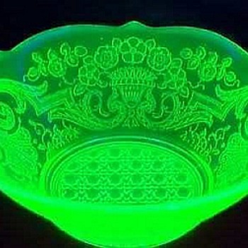 Lancaster Glass Uranium Glass Handled Bowl, Debbra Pattern - Glassware