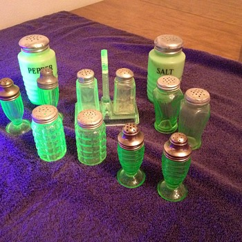 Green Salt and Pepper Shakers - Glassware