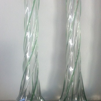 Pair of twisted single bud vases with green trails and Birmingham HM 1904