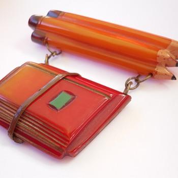 Rare Antique Bakelite School Days Pencil Book Bundle Dangle Pin
