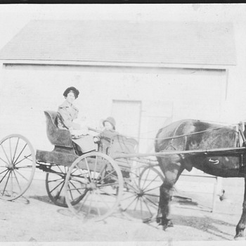 My Great Aunt in First house and her carriage 1909 Canada ,Conquest - Photographs
