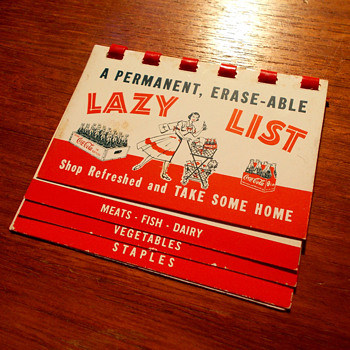 "1950s Coca-Cola Grocery Pocket ""Lazy List"" Guide"